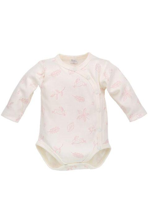 Ecru weißer Baby Mädchen Wickelbody langarm Häschen & Blätter Motive mit Druckknöpfe von Pinokio - Vorderansicht