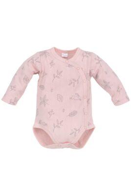 Rosa Baby Mädchen Wickelbody langarm Häschen & Blätter Motive mit Druckknöpfe von Pinokio - Vorderansicht