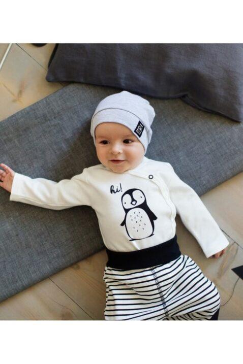 Ecru weißer Baby Jungen Mädchen Wickelbody langarm mit Pinguin-Motiv & Druckknöpfe unisex von Pinokio - Babyphoto