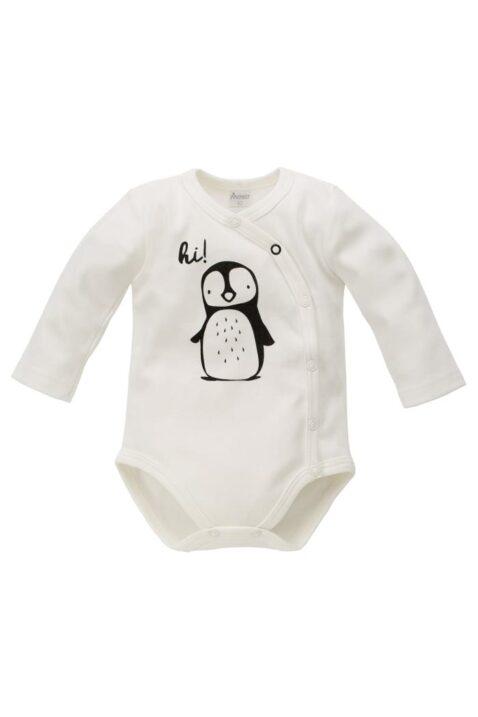 Ecru weißer Baby Jungen Mädchen Wickelbody langarm mit Pinguin-Motiv & Druckknöpfe unisex Tierbody von Pinokio - Vorderansicht