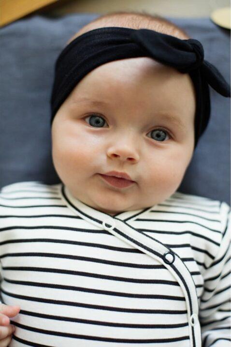 Schwarz-weiß gestreifter Baby Jungen Mädchen Wickelbody langarm mit Druckknöpfe unisex von Pinokio - Babyphoto