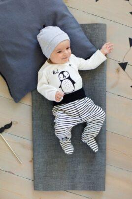 Schwarz-weiß gestreifte Baby Jungen Mädchen Strampelhose mit Fuß - Schlafhose Babyhose unisex von Pinokio - Babyphoto