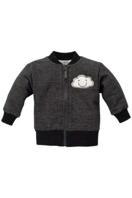 Pinokio graue Baby Jungen Sweatjacke mit Wolke, Reißverschluss & Rippbündchen – Babyjacke & Baumwolljacke – Vorderansicht