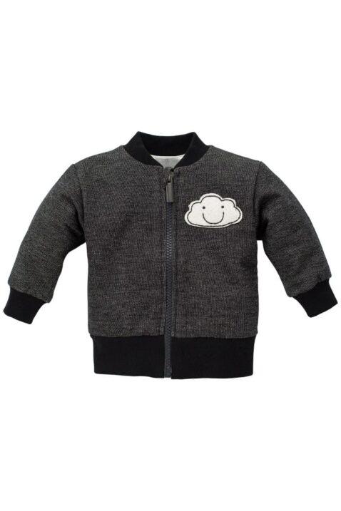 Graue Baby Jungen Sweatjacke mit Wolke, Reißverschluss & Rippbündchen - Babyjacke & Baumwolljacke von Pinokio - Vorderansicht