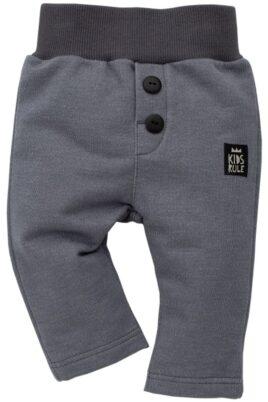 Pinokio dunkel graue Baby Jungen Jogginghose & Schlupfhose – Babyhose mit Patch & Knöpfe – Vorderansicht