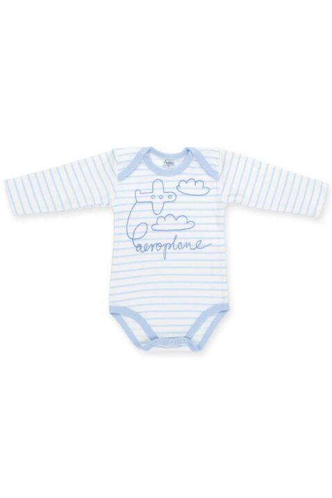 Blau weiß gestreifter Baby Jungen Body langarm mit Flugzeug & Wolken Motiv Langarmbody aeroplane von Pinokio - Vorderansicht