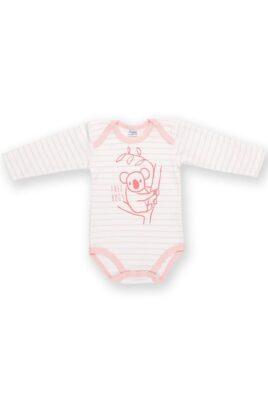 Pinokio rosa weiß gestreifter Baby Mädchen Body langarm mit Koala Motiv – Tier Langarmbody – Vorderansicht