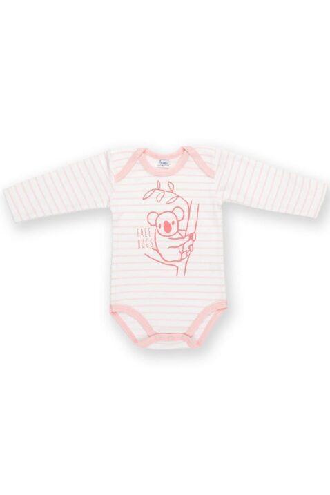 Rosa weiß gestreifter Baby Mädchen Body langarm mit Koala Motiv - Tier Langarmbody von Pinokio - Vorderansicht