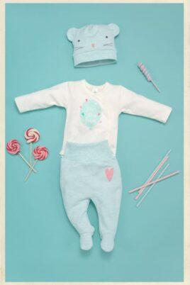 Ecru weißer Baby Mädchen Wickelbody langarm mit Herzen & Ballon Motiv - Sommer Langarmbody, Mütze, Hose von Pinokio - Inspiration Lookbook