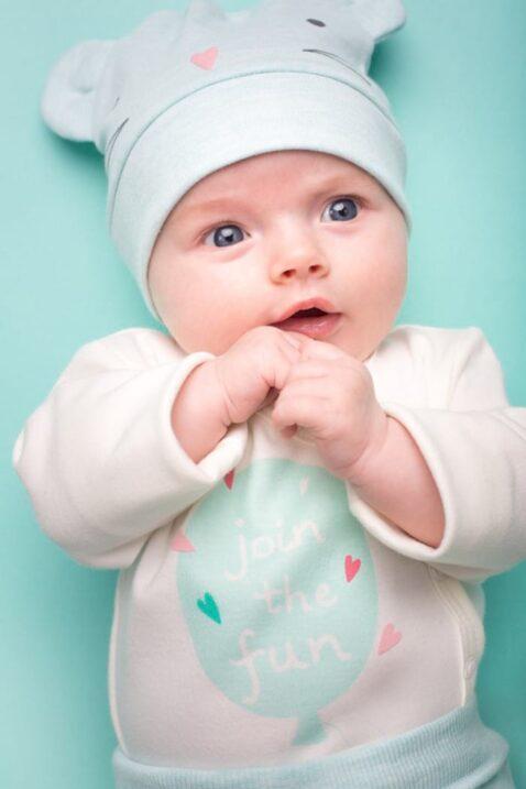 Mint grüne Baby Mädchen Mütze mit Maus-Motiv & Ohren - Mausmütze, Babymütze von Pinokio - Babyphoto
