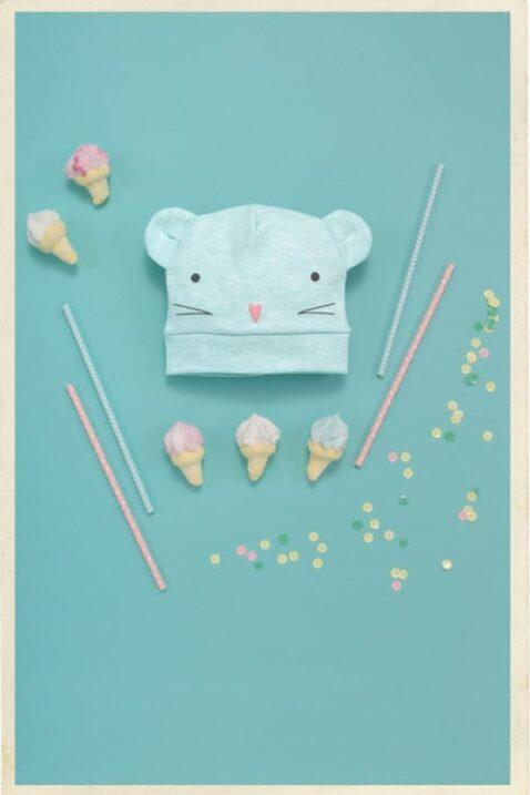 Mint grüne Baby Mädchen Mütze mit Maus-Motiv & Ohren - Mausmütze & Babymütze von Pinokio - Inspiration Lookbook