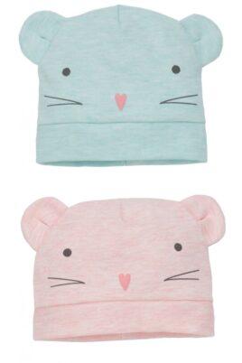 Pinokio mint grüne & rosa Baby Mädchen Mütze mit Maus-Motiv & Ohren – Mausmütze & Babymütze – Mützen-Set