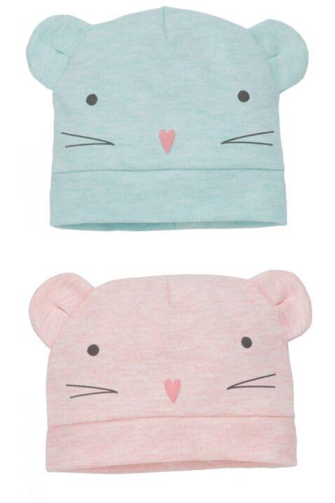 Mint grüne & rosa Baby Mädchen Mütze mit Maus-Motiv & Ohren - Mausmütze & Babymütze von Pinokio - Mützen-Set