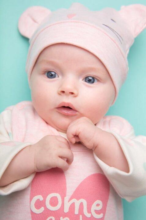 Rosa Baby Mädchen Mütze mit Maus Motiv & Ohren - Mausmütze & Babymütze von Pinokio - Babyphoto