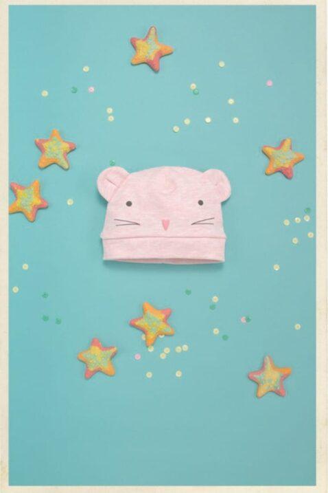 Rosa Baby Mädchen Mütze mit Maus Motiv & Ohren - Mausmütze & Babymütze von Pinokio - Inspiration Lookbook