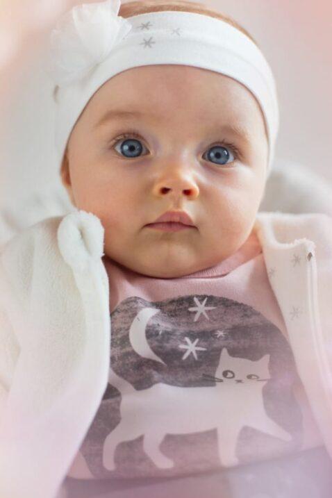 Rosa Baby Mädchen Body langarm mit Katzen Motiv bei Nacht - Tier Langarmbody Babybody von Pinokio - Babyphoto