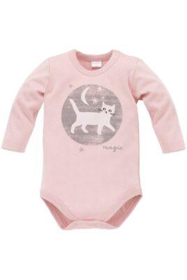 Pinokio rosa Baby Mädchen Body langarm mit Katzen Motiv bei Nacht – Tier Langarmbody Babybody – Vorderansicht