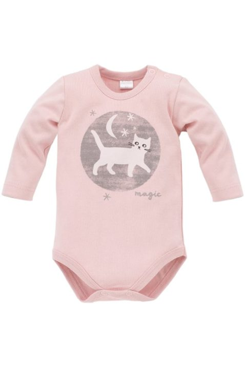 Rosa Baby Mädchen Body langarm mit Katzen Motiv bei Nacht - Tier Langarmbody Babybody von Pinokio - Vorderansicht