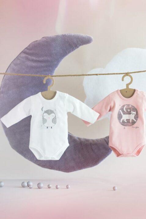 Ecru weißer & rosa Baby Mädchen Body langarm mit schlafender Eule Motiv bei Nacht - Tier Langarmbody Babybody von Pinokio - Inspiration Lookbook
