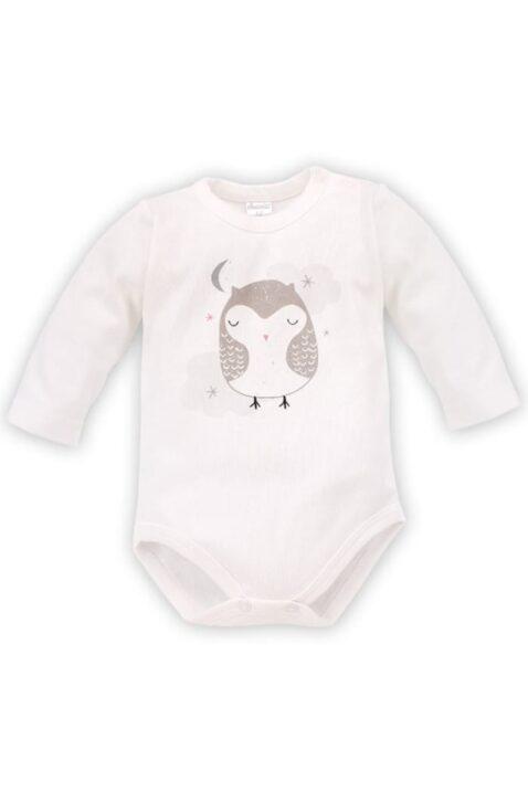 Ecru weißer Baby Mädchen Body langarm mit schlafender Eule Motiv bei Nacht - Tier Langarmbody Babybody von Pinokio - Vorderansicht