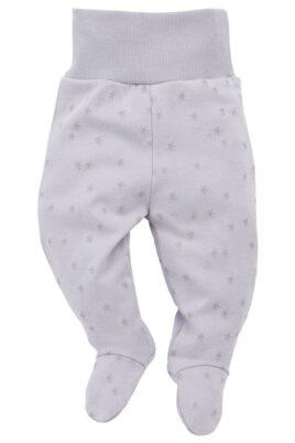 Pinokio graue Baby Mädchen Strampelhose mit Füßchen & Sterne Motiv – Schlafhose & Babyhose – Vorderansicht