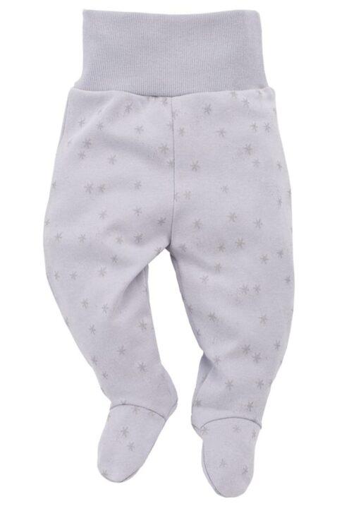 Graue Baby Mädchen Strampelhose mit Füßchen & Sterne Motiv - Schlafhose & Babyhose von Pinokio - Vorderansicht