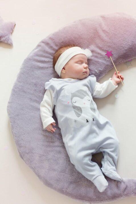 auer Baby Mädchen Strampler mit Fuß & Eulen Motiv - Strampelanzug & Tier Babystrampler von Pinokio - Babyphoto