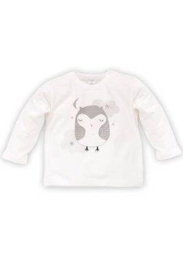 Pinokio ecru weißes Baby Mädchen Langarmshirt mit Eulen Motiv – Langarm Tier Shirt & Babyshirt – Vorderansicht