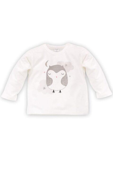 Ecru weißes Baby Mädchen Langarmshirt mit Eulen Motiv - Langarm Tier Shirt & Babyshirt von Pinokio - Vorderansicht