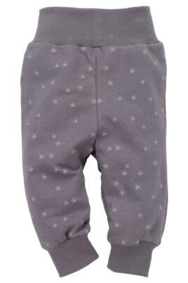 Pinokio graue Baby Mädchen Leggings Sweathose mit Sternen Motiven Glitzer – Babyhose & Schlafhose – Vorderansicht