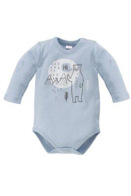 Pinokio blauer Baby Jungen Body mit Eisbär Motiv & Landschaft – Tier Babybody & Langarmbody – Vorderansicht