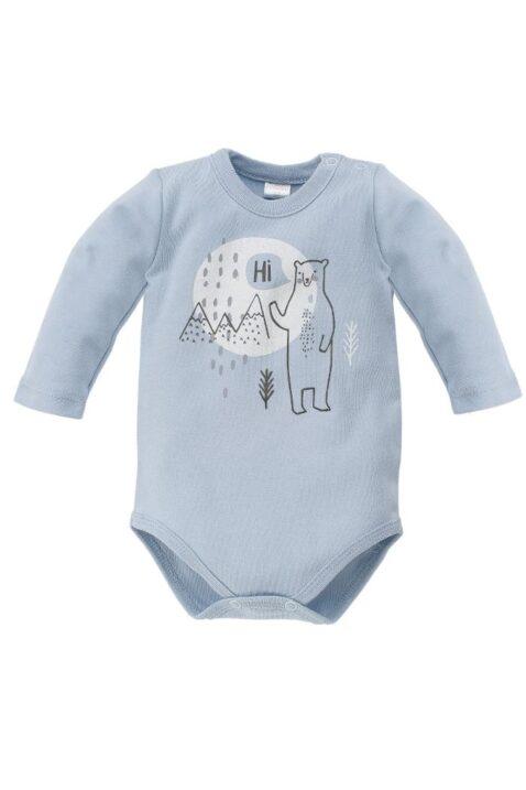 Blauer Baby Jungen Body mit Eisbär Motiv & Landschaft - Tier Babybody & Langarmbody von Pinokio - Vorderansicht