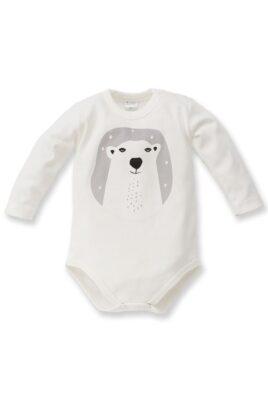 Pinokio ecru weißer Baby Jungen Body mit Eisbär Motiv – Tier Babybody & Langarmbody – Vorderansicht