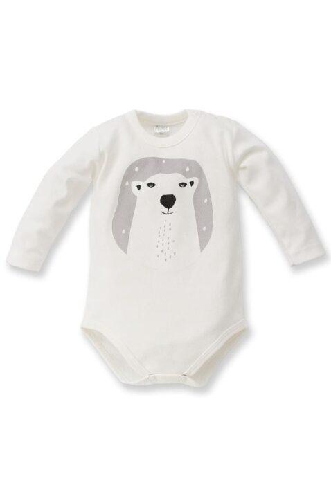 Ecru weißer Baby Jungen Body mit Eisbär Motiv - Tier Babybody & Langarmbody von Pinokio - Vorderansicht