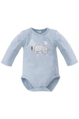 Pinokio blauer Baby Jungen Wickelbody mit Eisbär Motiv – Tier Babybody & Langarmbody – Vorderansicht