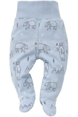 Pinokio blaue Baby Jungen Strampelhose mit Füße, Eisbären & Eisberge – Tier Schlafhose & Babyhose- Vorderansicht