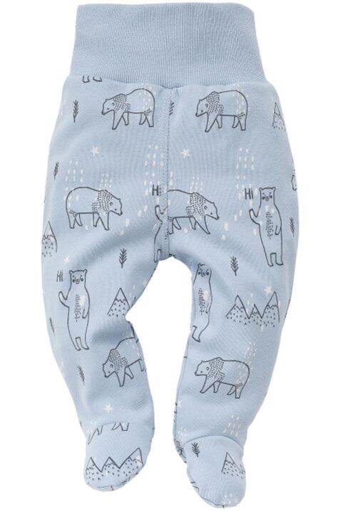Blaue Baby Jungen Strampelhose mit Füße, Eisbären & Eisberge - Tier Schlafhose & Babyhose von Pinokio - Vorderansicht