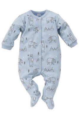 Pinokio blauer Baby Jungen Schlafoverall mit Füßen & Eisbären – Schlafanzug & Strampelanzug einteilig – Vorderansicht