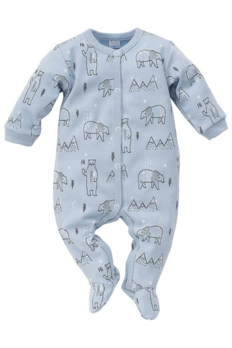 Blauer Baby Jungen Schlafoverall mit Füßen & Eisbären - Schlafanzug & Strampelanzug einteilig von Pinokio - Vorderansicht