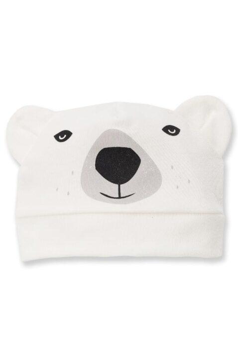 Ecru weiße Baby Jungen Mütze mit Ohren im Eisbär Design - Tier Babymütze & Kindermütze von Pinokio - Vorderansicht