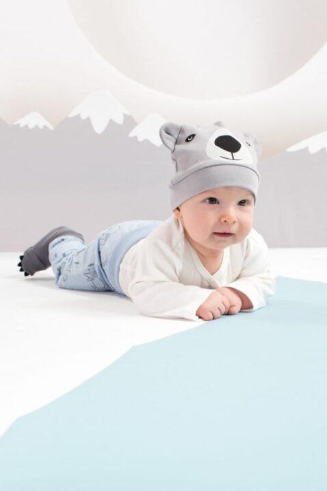 Graue Baby Jungen Mütze mit Ohren im Eisbär Design - Tier Babymütze & Kindermütze von Pinokio - Babyphoto
