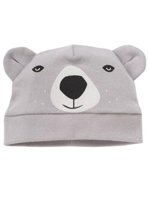 Graue Baby Jungen Mütze mit Ohren im Eisbär Design - Tier Babymütze & Kindermütze von Pinokio - Vorderansicht