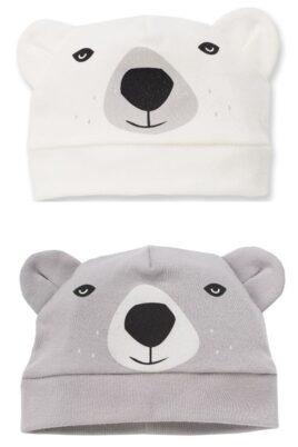 Pinokio Set ecru weiße & graue Baby Jungen Mützen mit Ohren im Eisbär Design – Tier Babymützen & Kindermützen – Vorderansicht