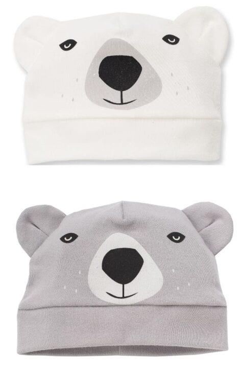 Set ecru weiße & graue Baby Jungen Mützen mit Ohren im Eisbär Design - Tier Babymützen & Kindermützen von Pinokio - Vorderansicht