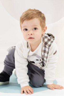 Ecru weiße Baby Jungen Jacke mit Kapuze & Ohren im Eisbär Design - Flauschjacke Herbst Winter mit Reissverschluss von Pinokio - Babyphoto