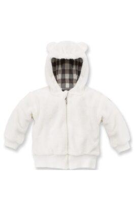 Pinokio ecru weiße Baby Jungen Jacke mit Kapuze & Ohren im Eisbär Design – Flauschjacke Herbst Winter mit Reissverschluss – Vorderansicht