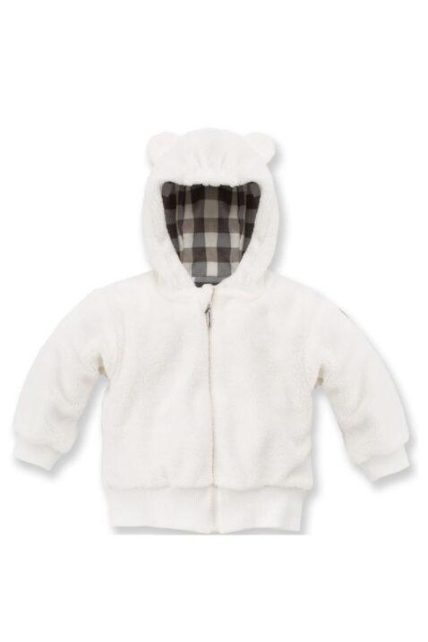 Ecru weiße Baby Jungen Jacke mit Kapuze & Ohren im Eisbär Design - Flauschjacke Herbst Winter mit Reissverschluss von Pinokio - Vorderansicht
