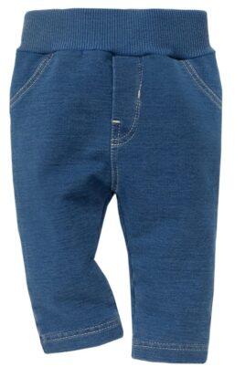 Pinokio blaue Baby Jungen & Mädchen Babyhose im Jeans Design mit Taschen & breitem Komfortbund – Sweatjeans unisex – Vorderansicht