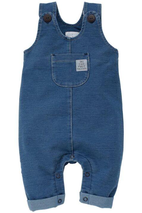 Blaue Baby Jungen & Mädchen Latzhose im Jeans Denim Look mit Beinumschlag, Brusttasche, Patch - Jeans Overall unisex von Pinokio - Vorderansicht