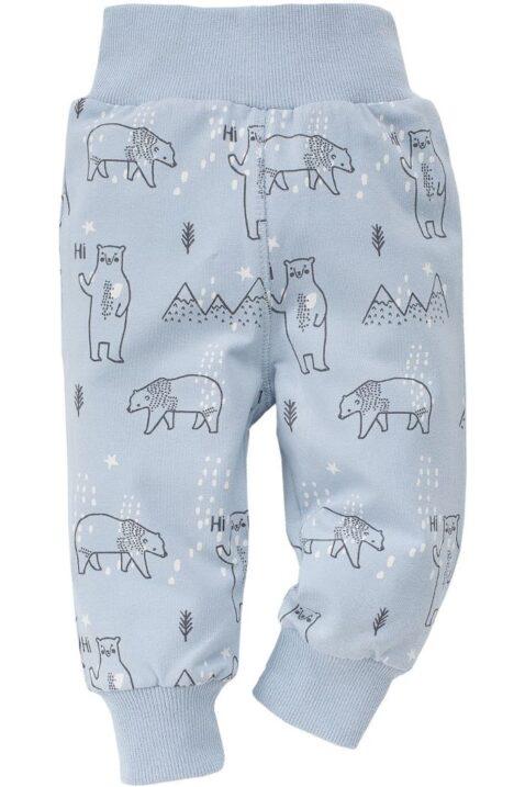 Hellblaue Baby Jungen Leggings Sweathose mit Eisbären, Eisbergen, Winterlandschaft - Babyhose & Schlafhose mit Bündchen Komfortbund von Pinokio - Vorderansicht